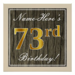 [ Thumbnail: Elegant, Faux Wood, Faux Gold 73rd Birthday + Name Poster ]