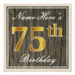 [ Thumbnail: Elegant, Faux Wood, Faux Gold 75th Birthday + Name Invitation ]