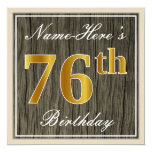 [ Thumbnail: Elegant, Faux Wood, Faux Gold 76th Birthday + Name Invitation ]