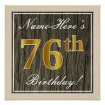 [ Thumbnail: Elegant, Faux Wood, Faux Gold 76th Birthday + Name Poster ]