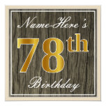 [ Thumbnail: Elegant, Faux Wood, Faux Gold 78th Birthday + Name Invitation ]