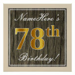[ Thumbnail: Elegant, Faux Wood, Faux Gold 78th Birthday + Name Poster ]