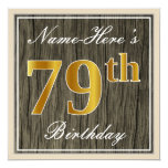 [ Thumbnail: Elegant, Faux Wood, Faux Gold 79th Birthday + Name Invitation ]