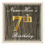 [ Thumbnail: Elegant, Faux Wood, Faux Gold 7th Birthday + Name Invitation ]
