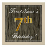 [ Thumbnail: Elegant, Faux Wood, Faux Gold 7th Birthday + Name Poster ]
