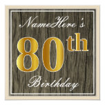 [ Thumbnail: Elegant, Faux Wood, Faux Gold 80th Birthday + Name Invitation ]