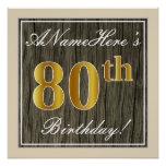 [ Thumbnail: Elegant, Faux Wood, Faux Gold 80th Birthday + Name Poster ]