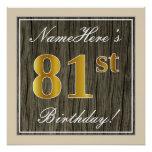 [ Thumbnail: Elegant, Faux Wood, Faux Gold 81st Birthday + Name Poster ]