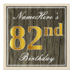 [ Thumbnail: Elegant, Faux Wood, Faux Gold 82nd Birthday + Name Invitation ]