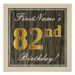 [ Thumbnail: Elegant, Faux Wood, Faux Gold 82nd Birthday + Name Poster ]
