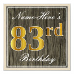 [ Thumbnail: Elegant, Faux Wood, Faux Gold 83rd Birthday + Name Invitation ]