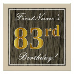 [ Thumbnail: Elegant, Faux Wood, Faux Gold 83rd Birthday + Name Poster ]