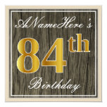 [ Thumbnail: Elegant, Faux Wood, Faux Gold 84th Birthday + Name Invitation ]
