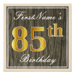 [ Thumbnail: Elegant, Faux Wood, Faux Gold 85th Birthday + Name Invitation ]