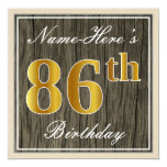 [ Thumbnail: Elegant, Faux Wood, Faux Gold 86th Birthday + Name Invitation ]