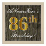 [ Thumbnail: Elegant, Faux Wood, Faux Gold 86th Birthday + Name Poster ]