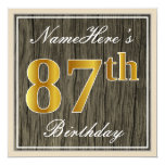 [ Thumbnail: Elegant, Faux Wood, Faux Gold 87th Birthday + Name Invitation ]