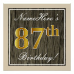 [ Thumbnail: Elegant, Faux Wood, Faux Gold 87th Birthday + Name Poster ]