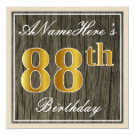 [ Thumbnail: Elegant, Faux Wood, Faux Gold 88th Birthday + Name Invitation ]
