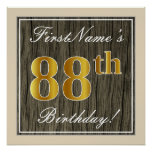 [ Thumbnail: Elegant, Faux Wood, Faux Gold 88th Birthday + Name Poster ]