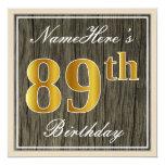 [ Thumbnail: Elegant, Faux Wood, Faux Gold 89th Birthday + Name Invitation ]