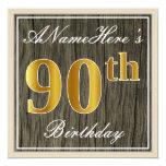 [ Thumbnail: Elegant, Faux Wood, Faux Gold 90th Birthday + Name Invitation ]