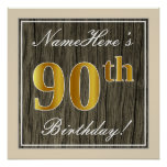 [ Thumbnail: Elegant, Faux Wood, Faux Gold 90th Birthday + Name Poster ]