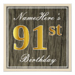 [ Thumbnail: Elegant, Faux Wood, Faux Gold 91st Birthday + Name Invitation ]
