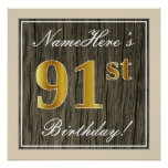 [ Thumbnail: Elegant, Faux Wood, Faux Gold 91st Birthday + Name Poster ]