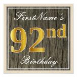 [ Thumbnail: Elegant, Faux Wood, Faux Gold 92nd Birthday + Name Invitation ]