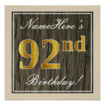 [ Thumbnail: Elegant, Faux Wood, Faux Gold 92nd Birthday + Name Poster ]