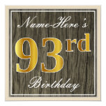 [ Thumbnail: Elegant, Faux Wood, Faux Gold 93rd Birthday + Name Invitation ]