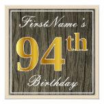 [ Thumbnail: Elegant, Faux Wood, Faux Gold 94th Birthday + Name Invitation ]