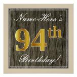 [ Thumbnail: Elegant, Faux Wood, Faux Gold 94th Birthday + Name Poster ]