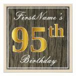 [ Thumbnail: Elegant, Faux Wood, Faux Gold 95th Birthday + Name Invitation ]