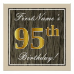 [ Thumbnail: Elegant, Faux Wood, Faux Gold 95th Birthday + Name Poster ]