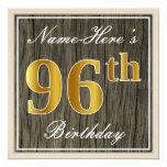 [ Thumbnail: Elegant, Faux Wood, Faux Gold 96th Birthday + Name Invitation ]