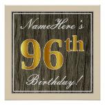[ Thumbnail: Elegant, Faux Wood, Faux Gold 96th Birthday + Name Poster ]
