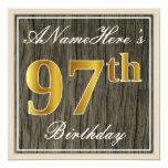 [ Thumbnail: Elegant, Faux Wood, Faux Gold 97th Birthday + Name Invitation ]