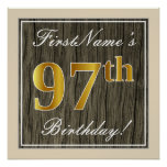 [ Thumbnail: Elegant, Faux Wood, Faux Gold 97th Birthday + Name Poster ]