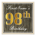 [ Thumbnail: Elegant, Faux Wood, Faux Gold 98th Birthday + Name Invitation ]
