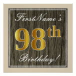 [ Thumbnail: Elegant, Faux Wood, Faux Gold 98th Birthday + Name Poster ]