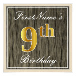 [ Thumbnail: Elegant, Faux Wood, Faux Gold 9th Birthday + Name Invitation ]