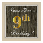 [ Thumbnail: Elegant, Faux Wood, Faux Gold 9th Birthday + Name Poster ]