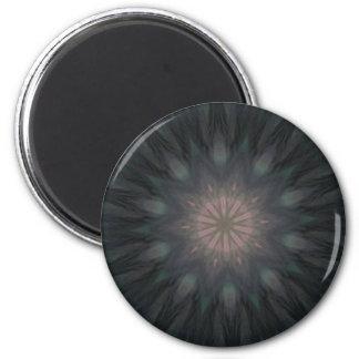 Elegant Feathery Smokey Teal Feather Mandala 2 Inch Round Magnet