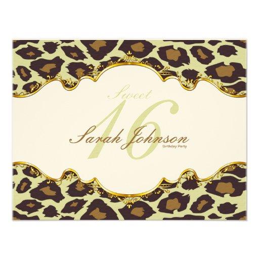 """Elegant """"felt"""" Leopard Sweet Sixteen Invites"""