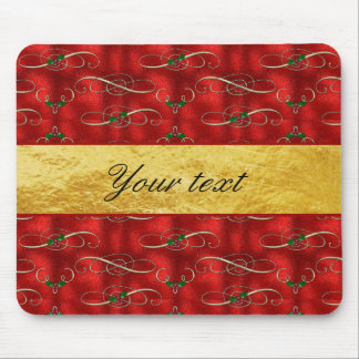 Elegant Festive Holly on Faux Red Foil Mouse Pad