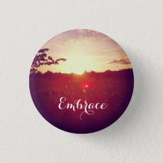 Elegant Field Sunset With Lens Flare & Custom Text Pinback Button