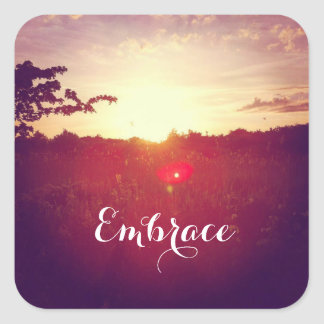 Elegant Field Sunset With Lens Flare & Custom Text Square Sticker