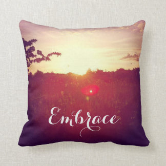 Elegant Field Sunset With Lens Flare & Custom Text Throw Pillow